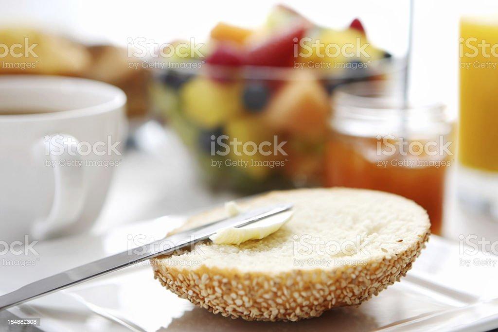 Breakfast- bread, butter,jam, coffee royalty-free stock photo
