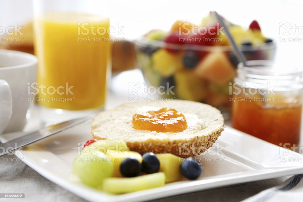 Breakfast- bread, butter,jam, coffee royalty-free stock photo