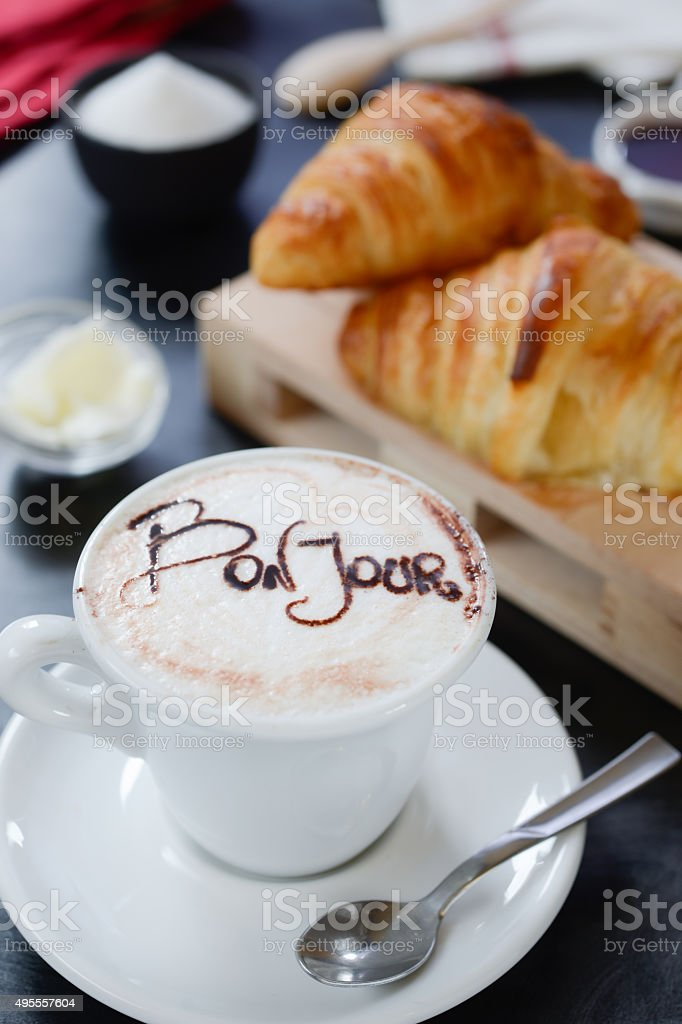 Breakfast cappuccino design - bonjour stock photo