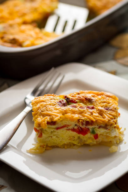 breakfast casserole - casserole stock photos and pictures