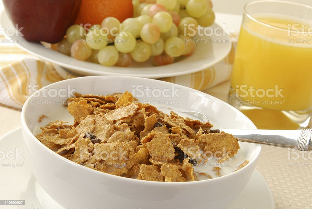 Breakfast cereal and fruit stock photo
