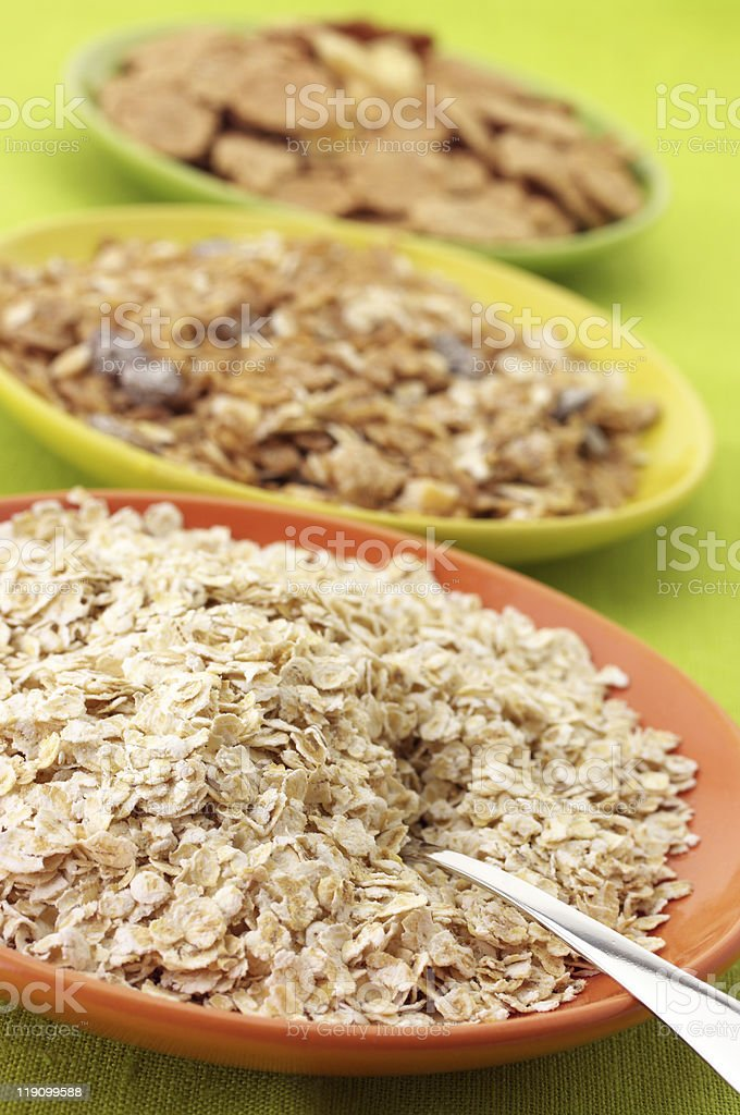 Breakfast cereal in plates royalty-free stock photo