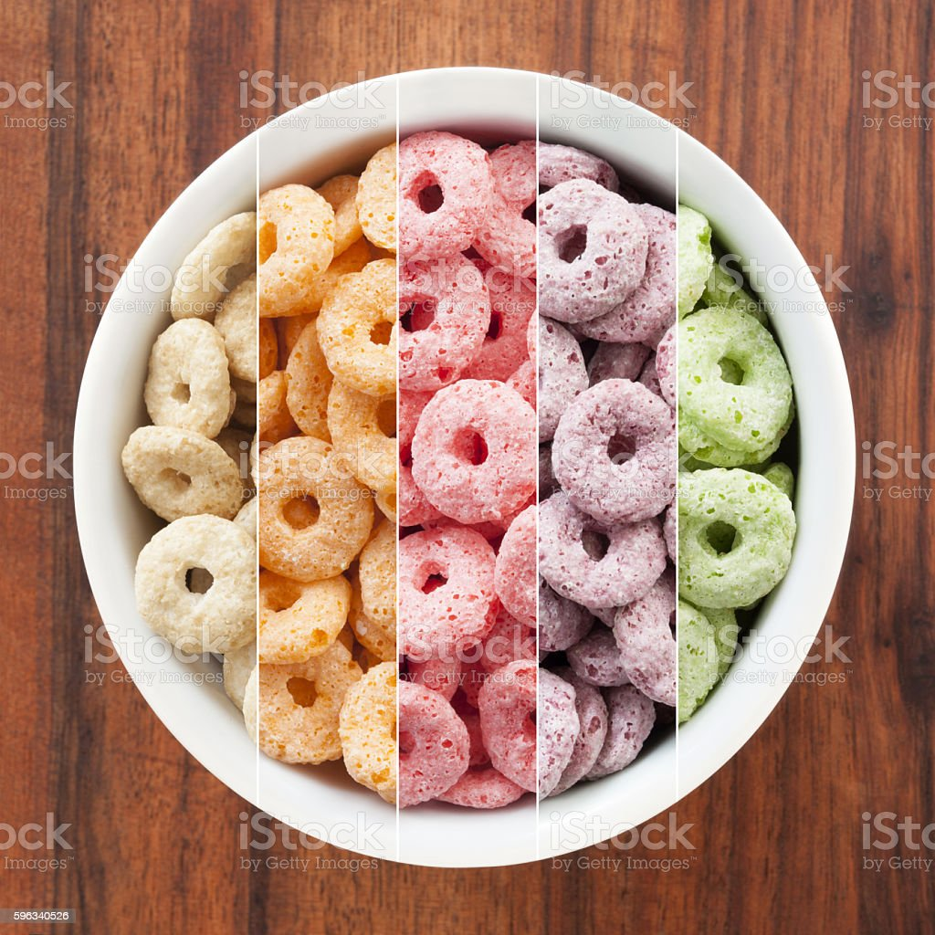 Breakfast cereal rings composition royalty-free stock photo