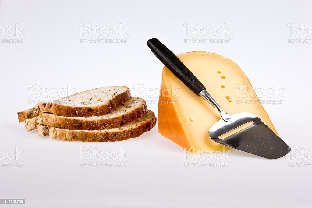 breakfast cheese and bread royalty-free stock photo