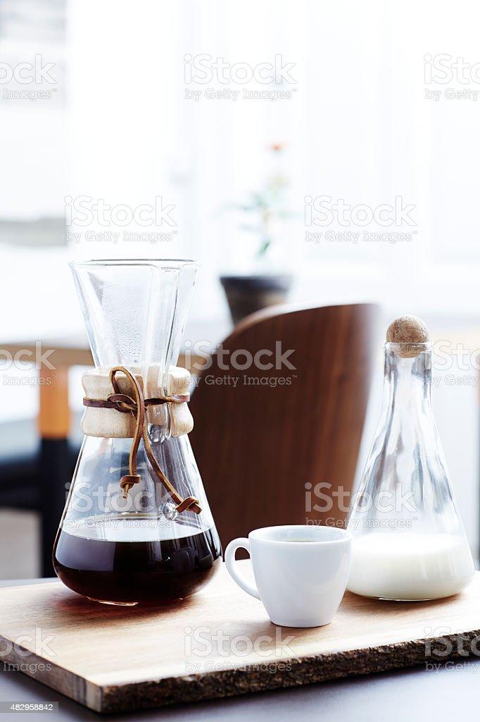 Breakfast coffee in elegant glassware,  still life stock photo