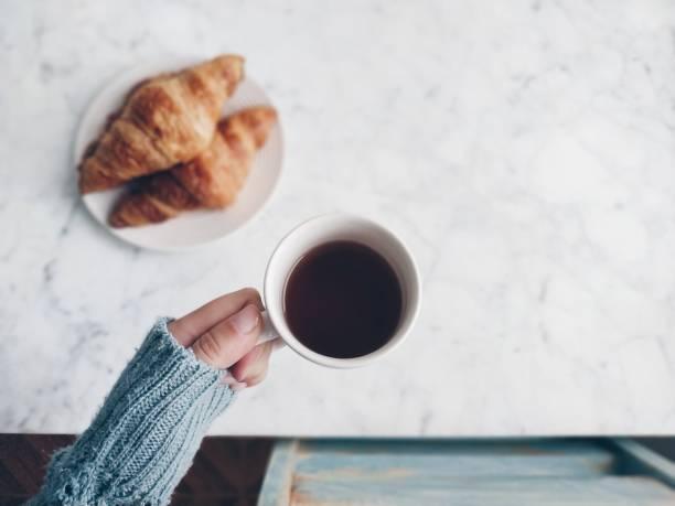 Breakfast coffee mug stock photo