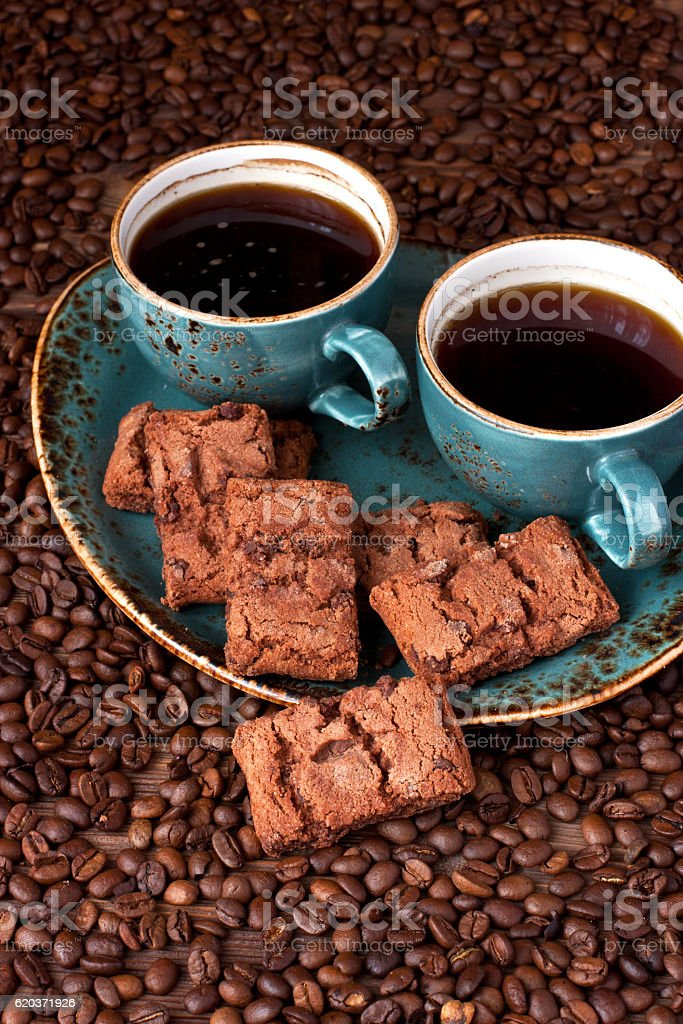 Breakfast coffee with chocolate cookies zbiór zdjęć royalty-free