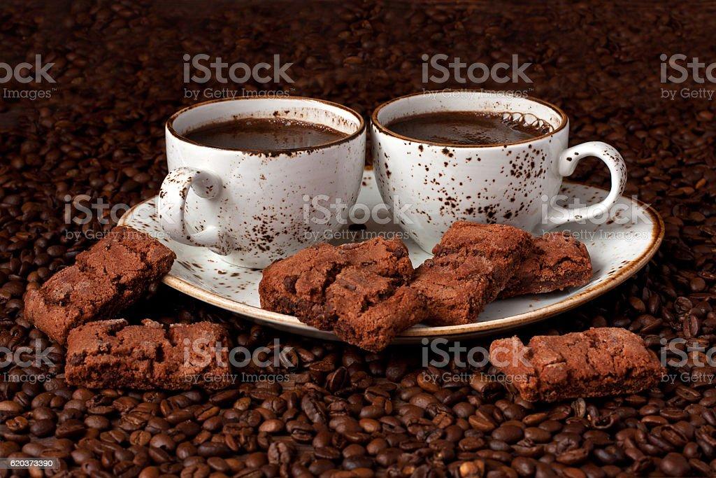 Breakfast coffee with chocolate cookies zbiór zdjęć royalty-free