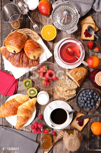 istock breakfast composition with coffee,tea,croissant and fruits 811339522