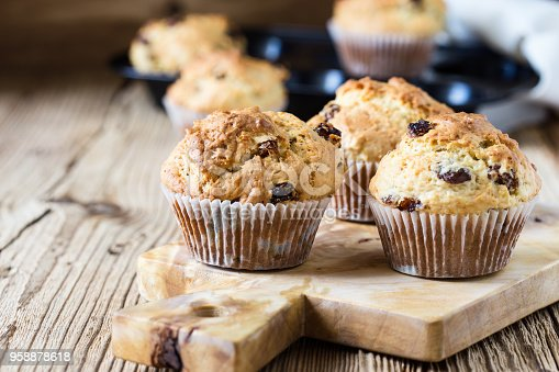 Breakfast cornmeal muffins with raisins, traditional american home baking