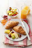 Croissant, Fruit Salad and Orange Juice Still Life. More breakfast and food photos can be found in my portfolio! Please have a look.