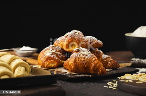 istock Breakfast croissant with chocolate on dark stone background 1150446130
