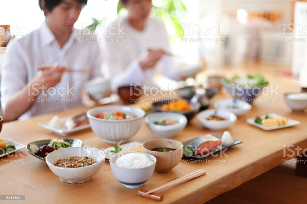 Breakfast eat with family stock photo