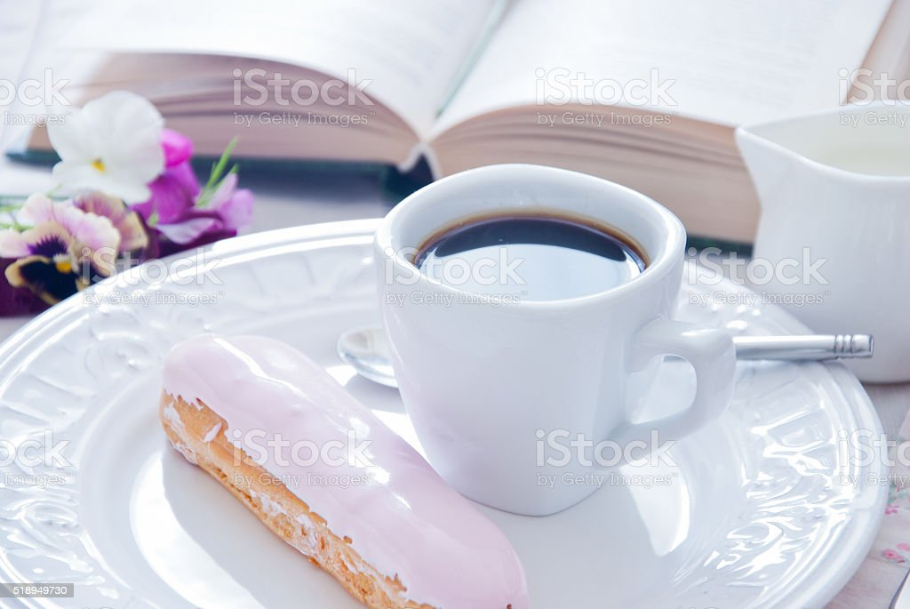 Breakfast - eclair and coffee cup