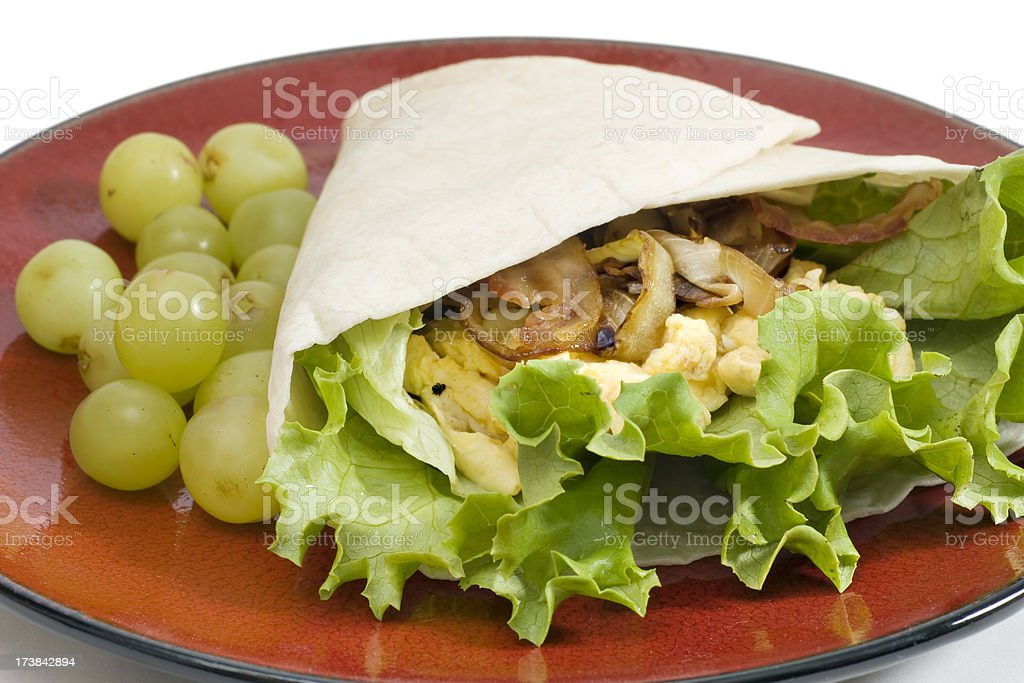 breakfast egg and bacon sandwich wrap royalty-free stock photo