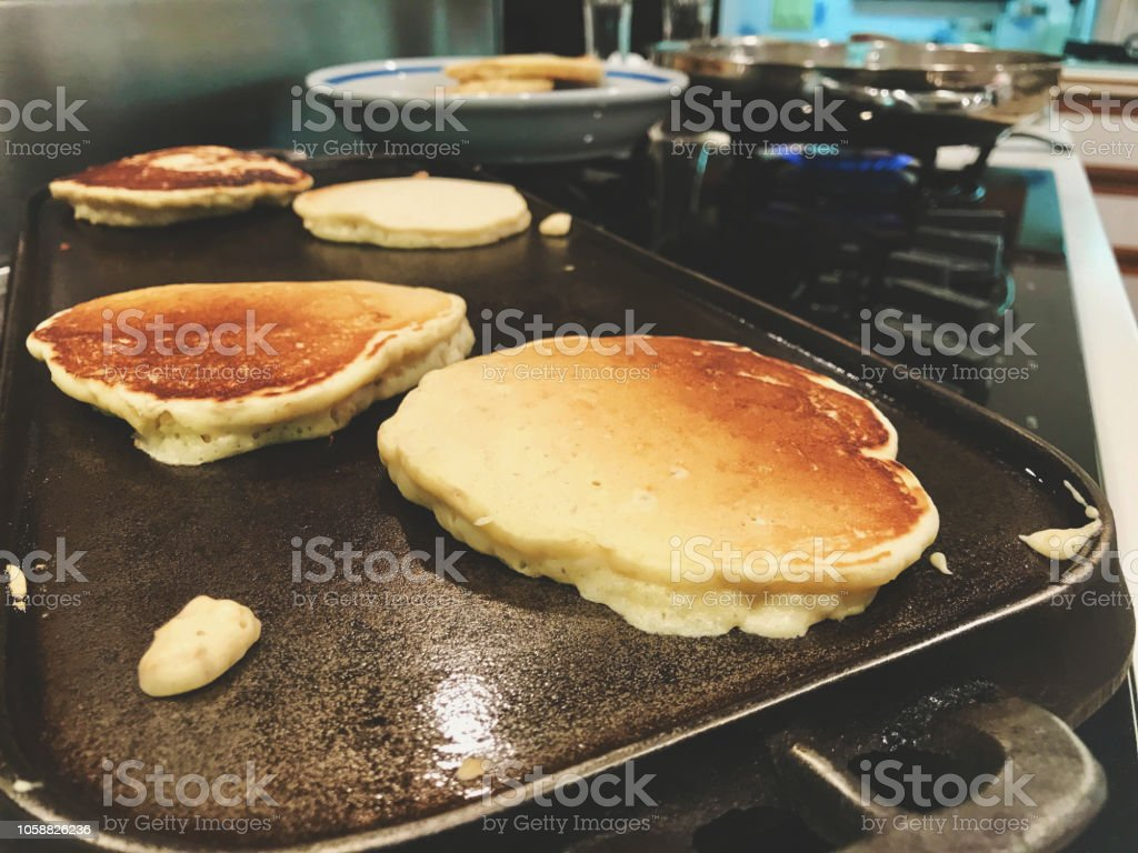 Breakfast food On Stove Top Healthy Grain Pancakes stock photo