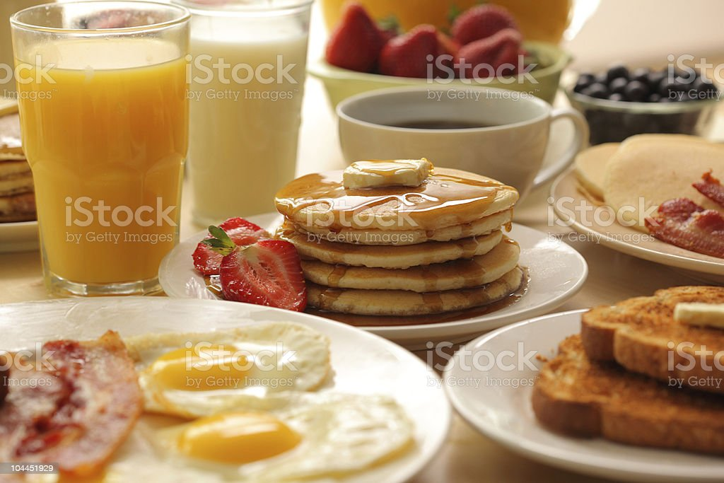 Breakfast foods and drinks stock photo