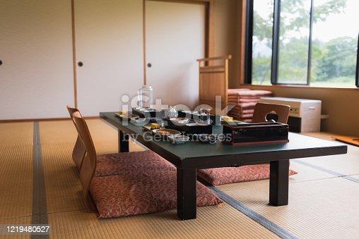 Typical Japanese breakfast served in a Ryokan lodge in Iiyama, Nagano, Japan.
