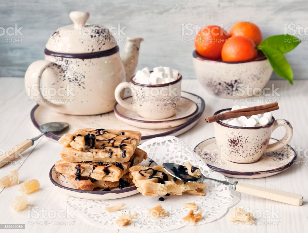 Breakfast for two coffee with marshmallow and fresh homemade pastries stock photo