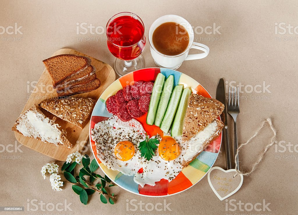 Breakfast from Eggs,Bread with Butter,Sausage.Colorfull Plate.Coffee royalty-free stock photo