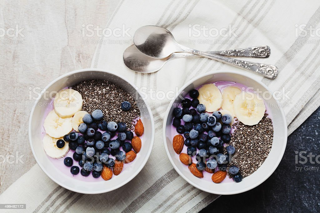 Breakfast from yogurt with berries, banana, almonds and chia seeds stock photo