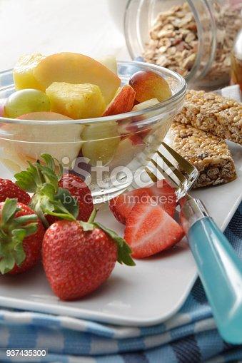 Breakfast: Fruit Salad and Granola Still Life