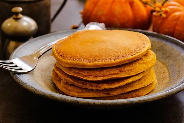 Breakfast - Homemade Pumpkin Pancakes stock photo