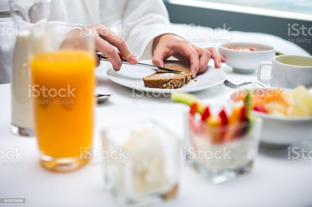 Breakfast In a Hotel Room stock photo
