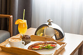 Breakfast in a  hotel room, room service