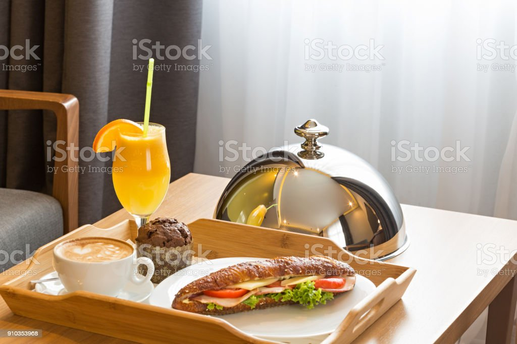 Breakfast in a  hotel room, room service stock photo