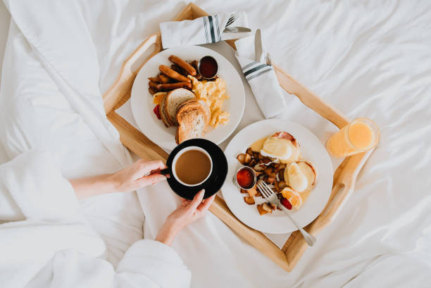 breakfast in bed - breakfast stock photos and pictures