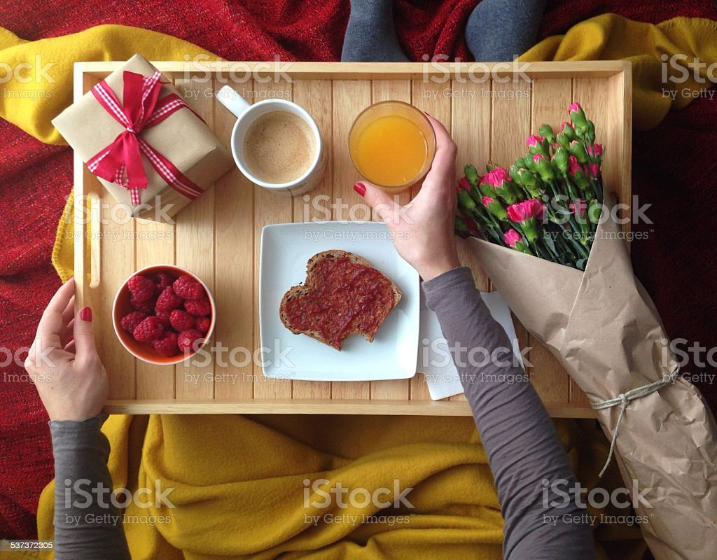 breakfast in bed stock photo
