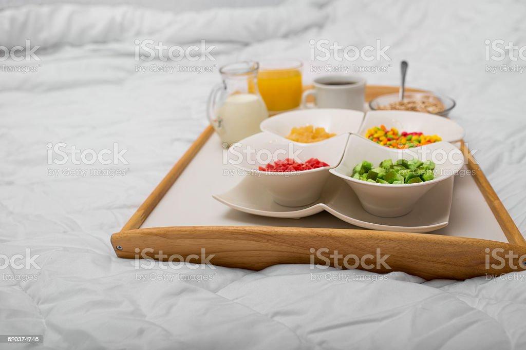 Śniadanie w łóżku  zbiór zdjęć royalty-free