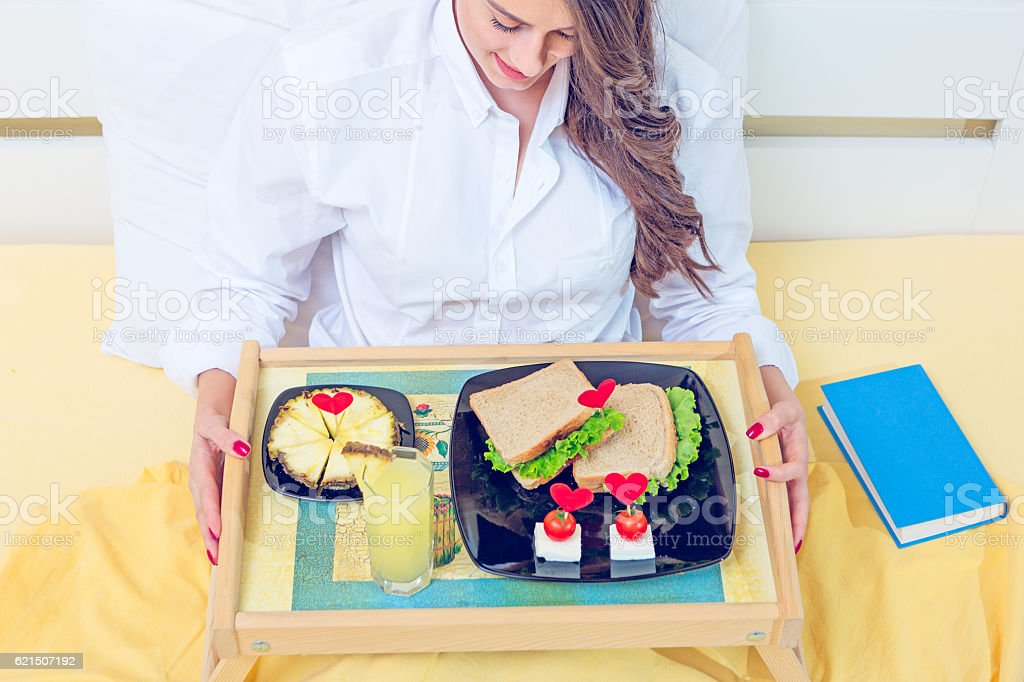 Prima colazione a letto  foto stock royalty-free