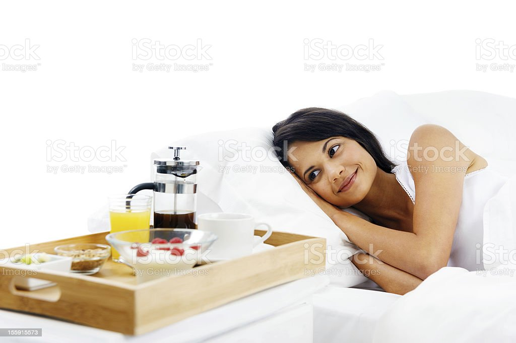 breakfast in bed service royalty-free stock photo