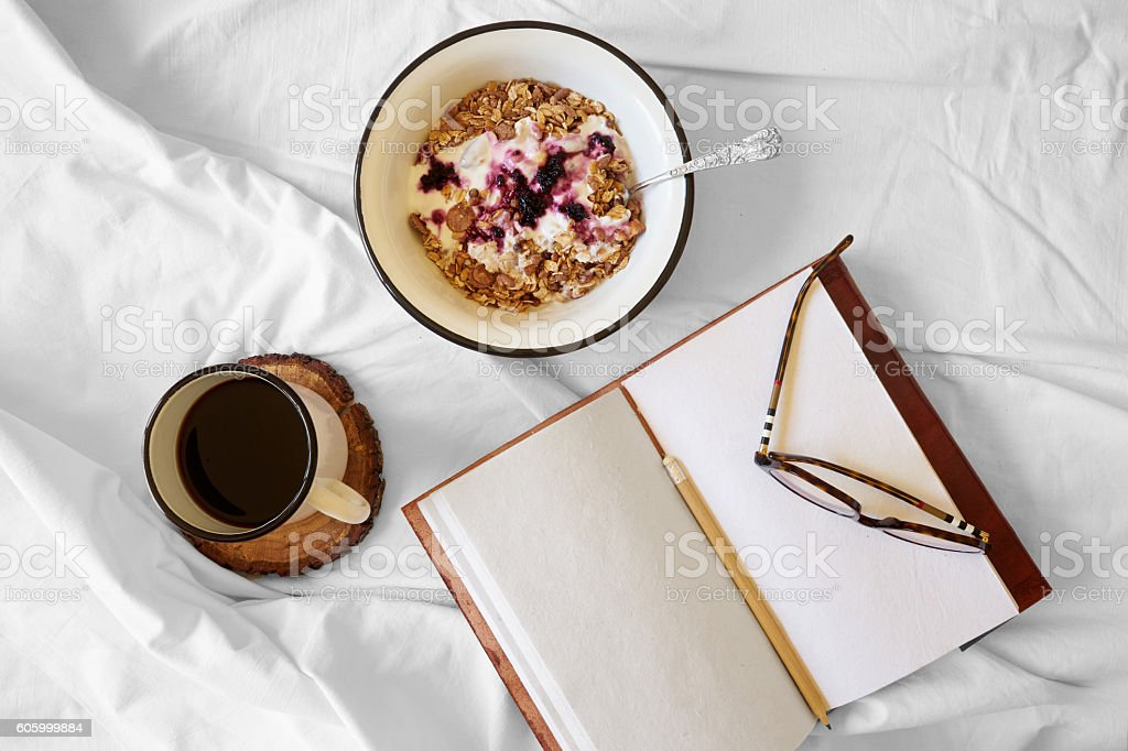 Breakfast in bed top view stock photo
