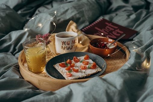 Breakfast In Bed Tray With Coffee And Food Stock Photo Download Image Now Istock