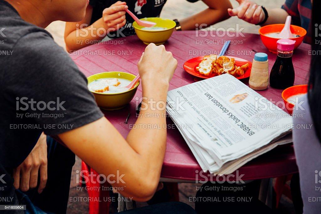 Breakfast in Chinatown, Kuala Lumpur, Malaysia royalty-free stock photo