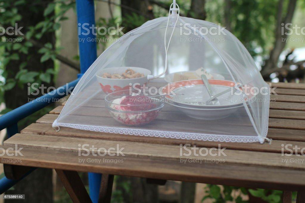 Breakfast in gazebo photo libre de droits