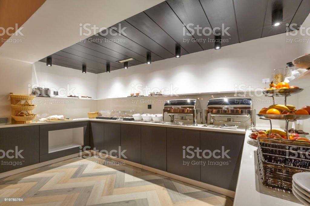 Breakfast in hotel, buffet table stock photo
