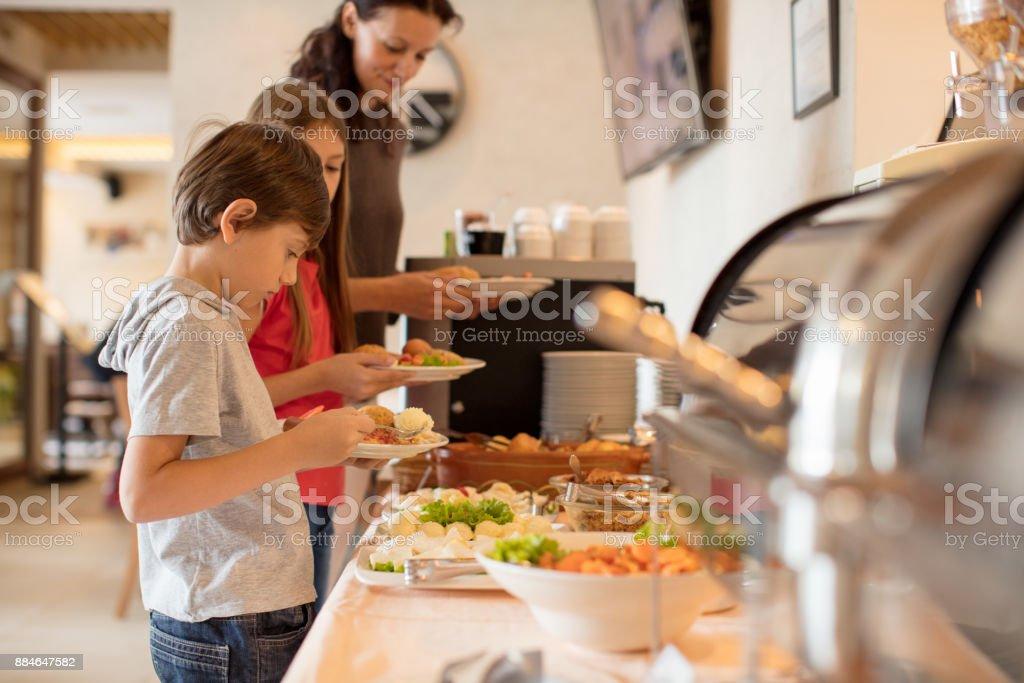 Breakfast in hotel restaurant stock photo