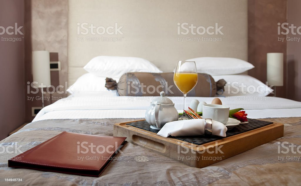 Breakfast in hotel room stock photo