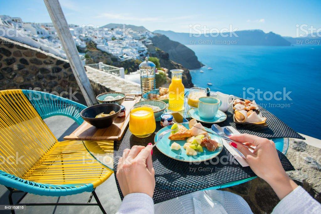 Breakfast in luxurious resort in Santorini stock photo