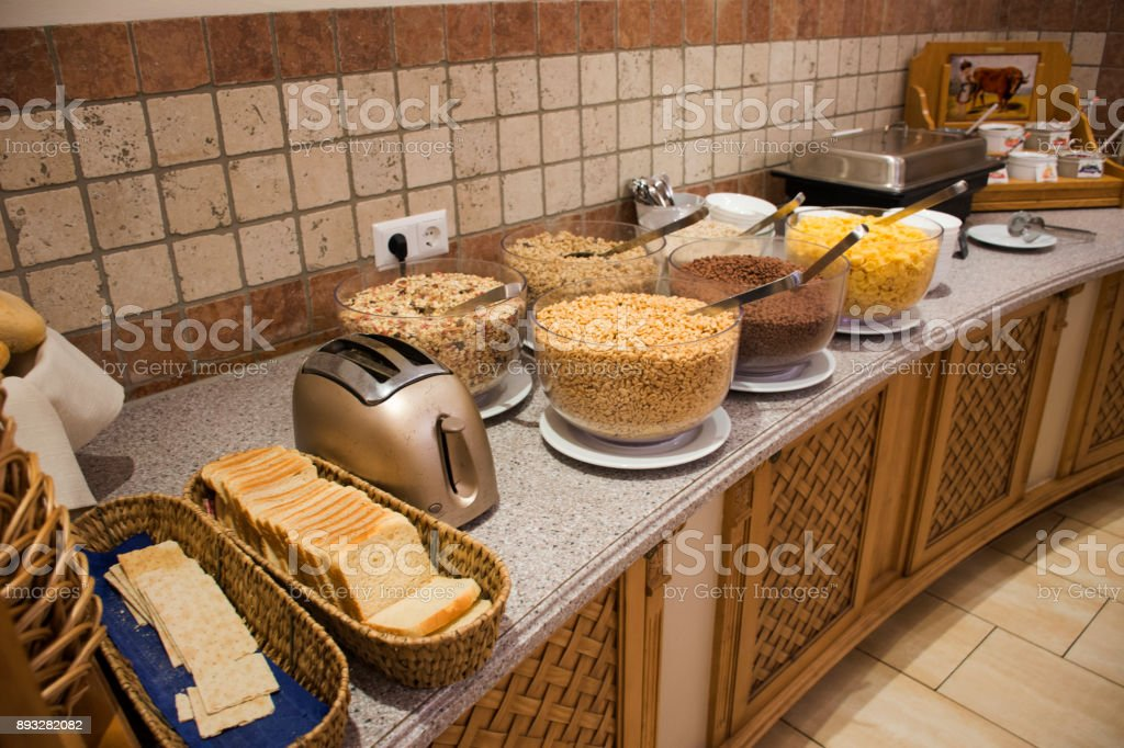 Breakfast in restaurant room at morning time stock photo