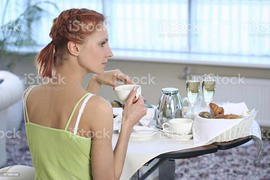breakfast in room royalty-free stock photo