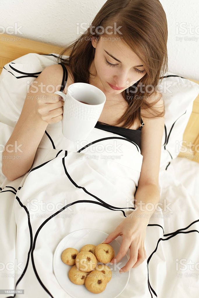 breakfast in the bed royalty-free stock photo