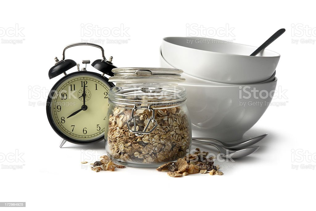 Breakfast Ingredients: Cereals Isolated on White Background royalty-free stock photo