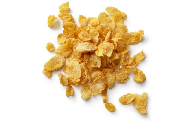 desayuno ingredientes: corn flakes (copos de maíz) - corn flakes fotografías e imágenes de stock