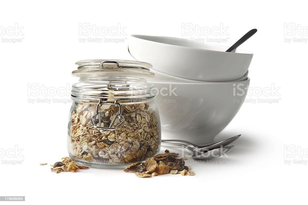 Breakfast Ingredients: Granola Isolated on White Background royalty-free stock photo