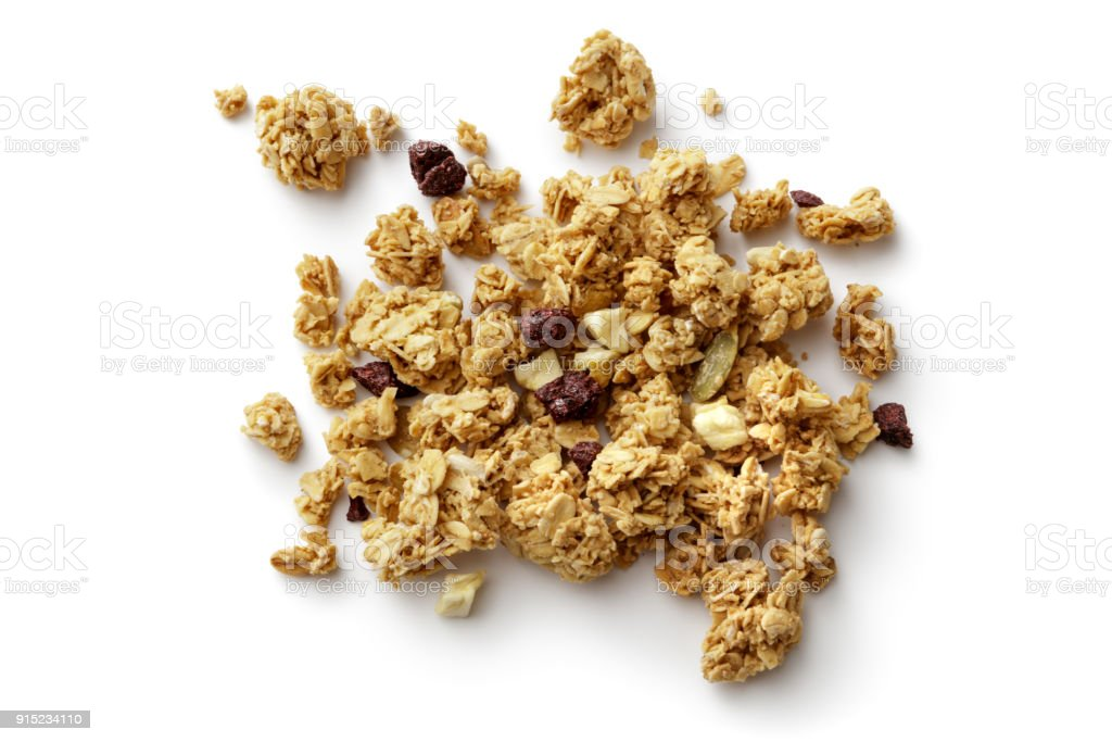 Breakfast Ingredients: Granola Isolated on White Background stock photo